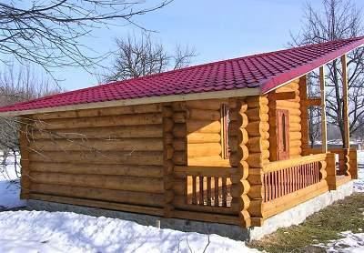 как построить баню с односкатной крышей