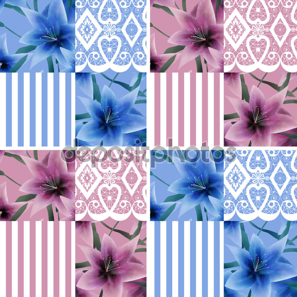 Patchwork seamless floral lilly pattern texture background with stripes
