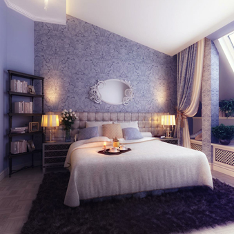 Combination Violet Blue cream color of bedroom decoration