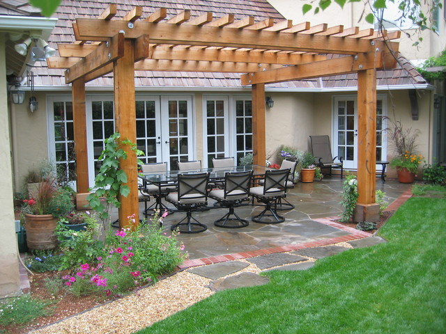 traditional-patio-pergolas-patios-climbing-plants-container-french-doors