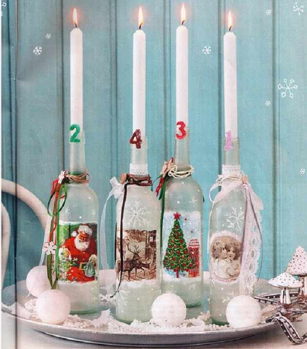 новогодние украшения бутылок
