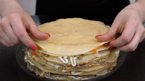 блинный торт с начинкой