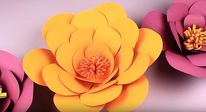 цветок из бумаги готов - объемные цветы