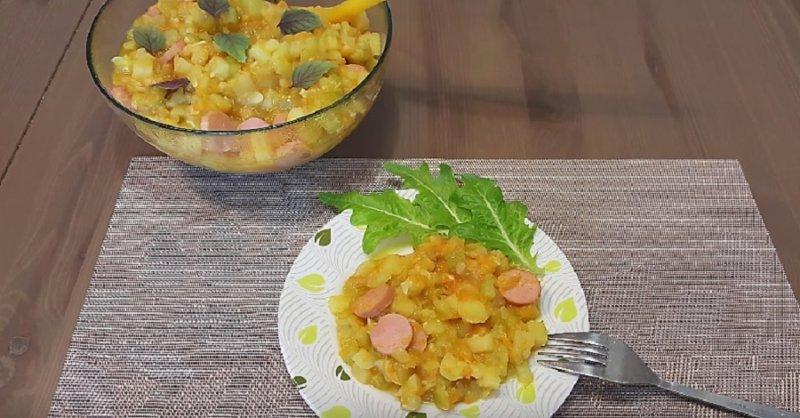 овощное рагу с сосисками