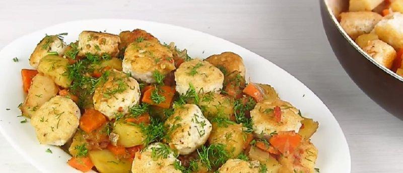 фрикадельки с кабачками - овощное рагу
