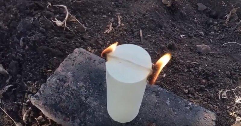серная шашка горит