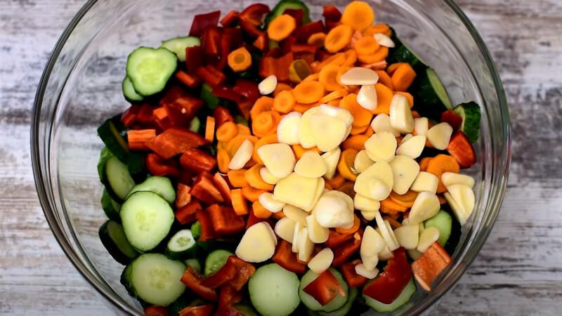 резанные овощи