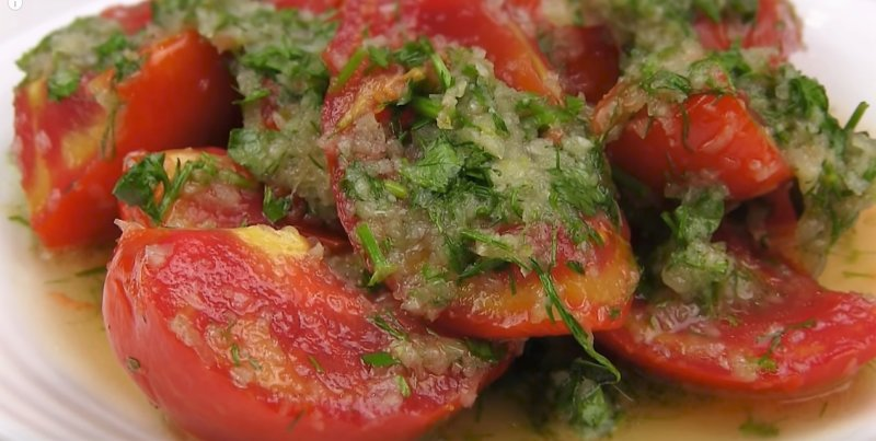 закуска по-корейски из помидор
