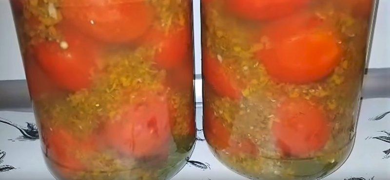помидоры ()томаты) в овощной заливке