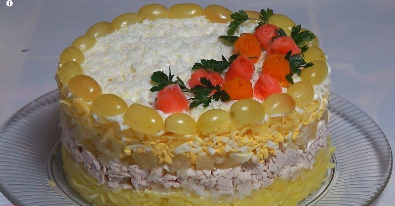 вкусный салат Невеста с ананасами и курицей