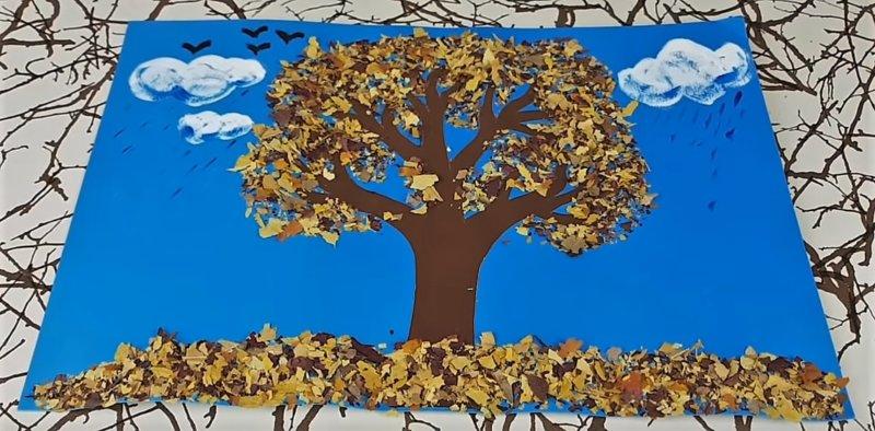 картина с листьями