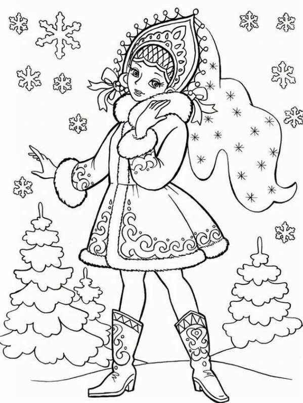 снегурочка в сапожках - трафареты