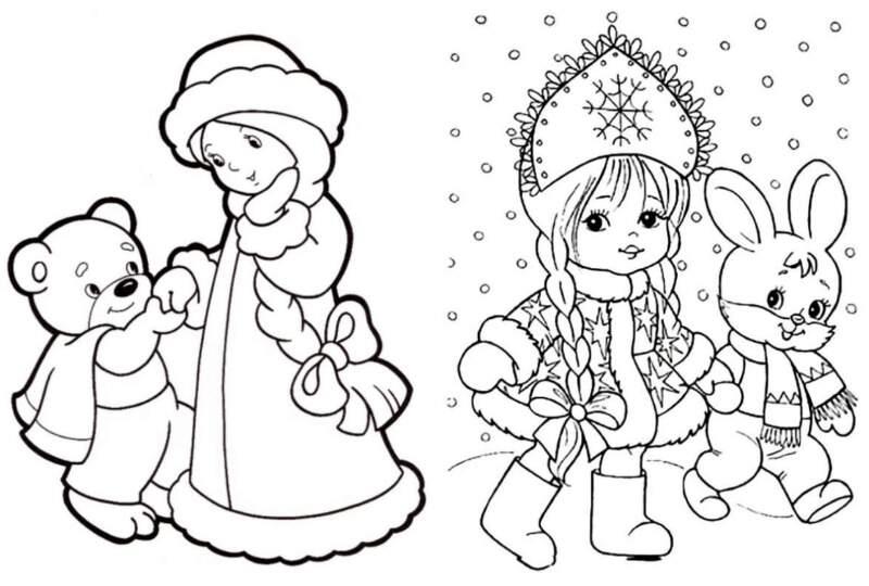 две снегурочки - трафареты
