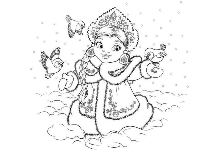 птички и снегурочка - трафареты