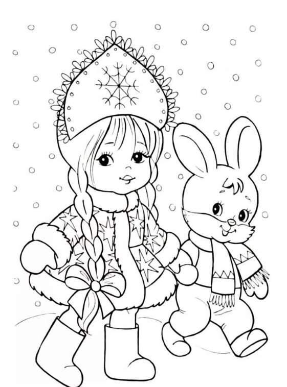 зайчик со снегурочкой - трафареты