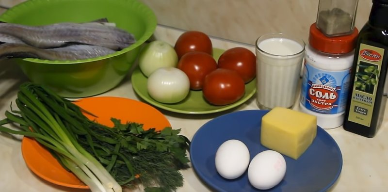 овощи для рецепта и рыба