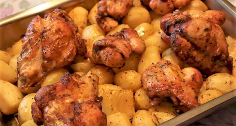 поджаренная индейка с картошкой