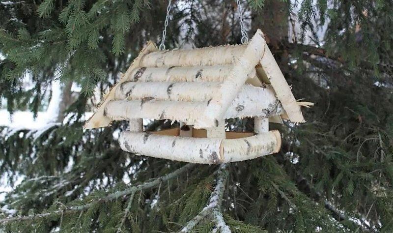 крыша из спила веточек