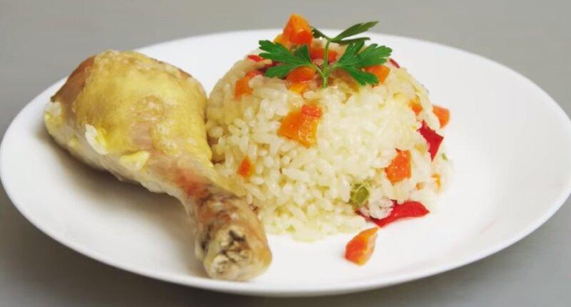 курица с рисом и овощами