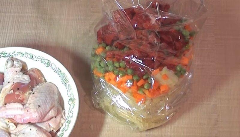 овощи в рукаве