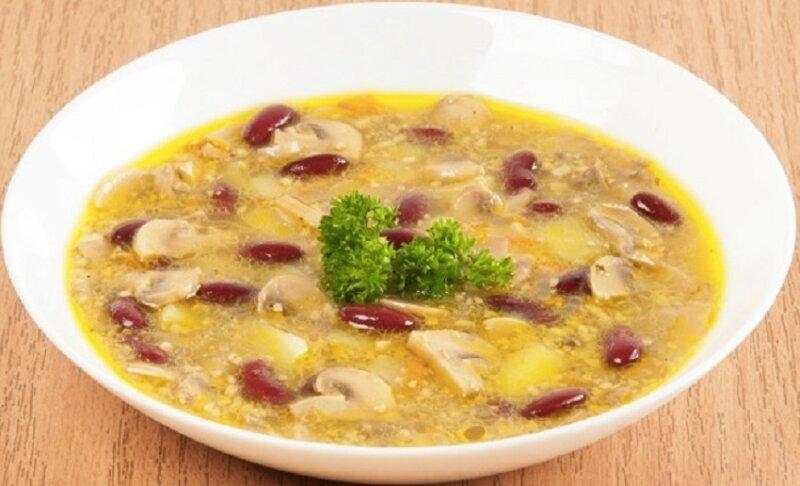 фасолевый постный суп с орехами