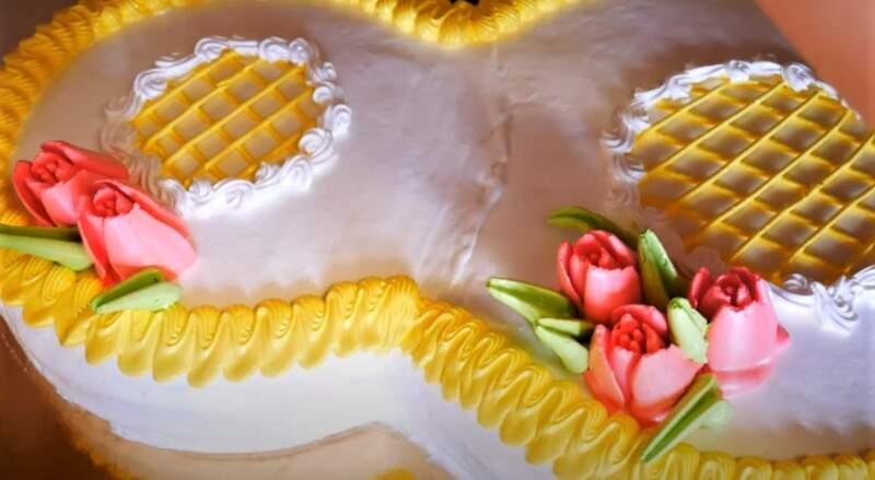 цветы из крема на торт цифра