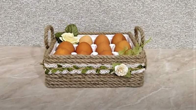 корзинка с яйцами - пасхальные поделки