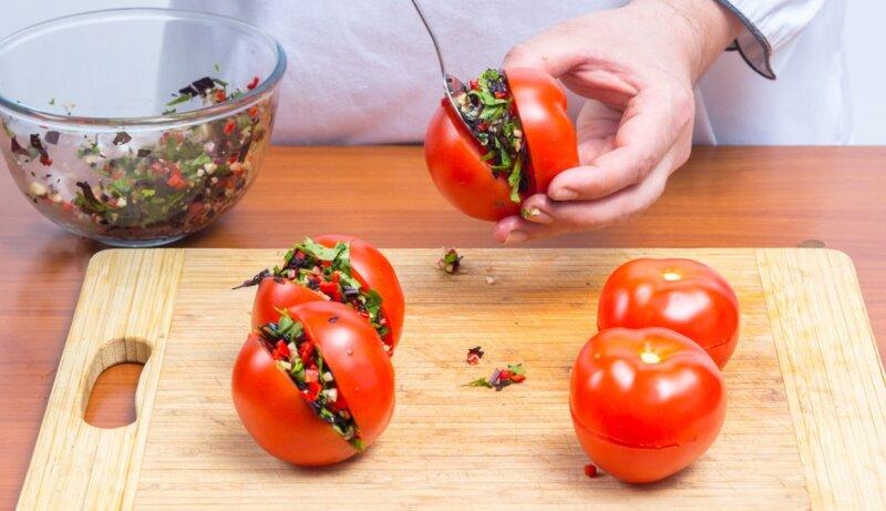 помидоры фаршированные овощами на зиму рецепты