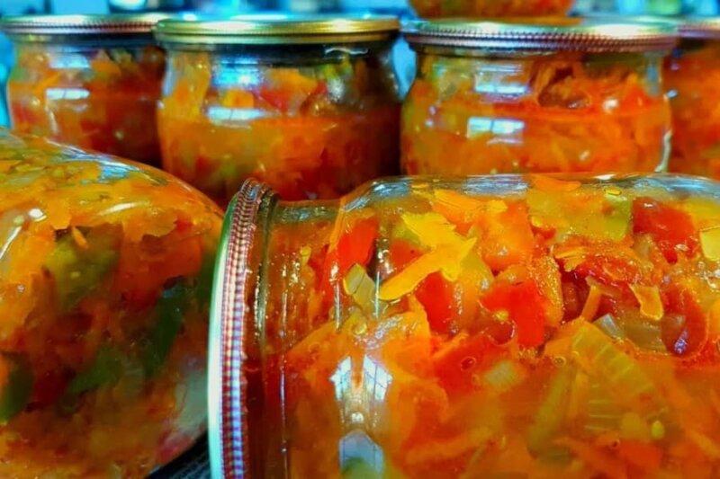 салат из перца и овощей на зиму