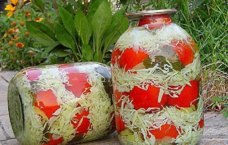 банки с капустой и помидорами
