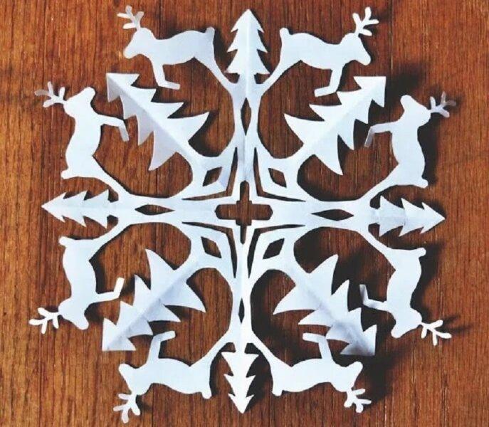 снежинка орнамент с оленями