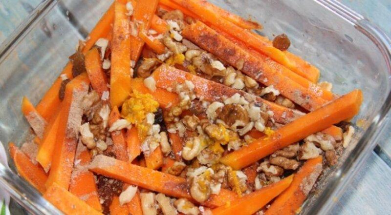 запеченная морковь с орехами