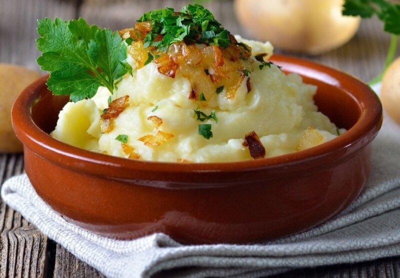 картошка с жаренным луком