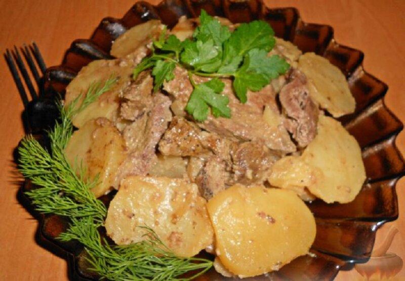 картошка тушеная с печенью