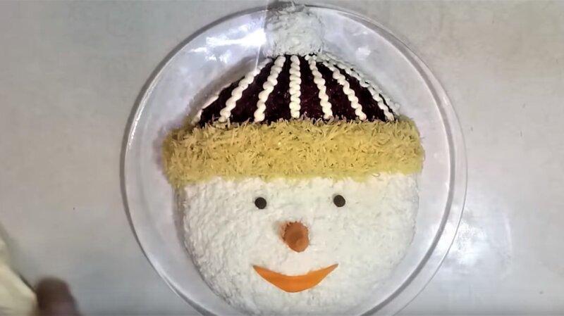идея салата Снеговик