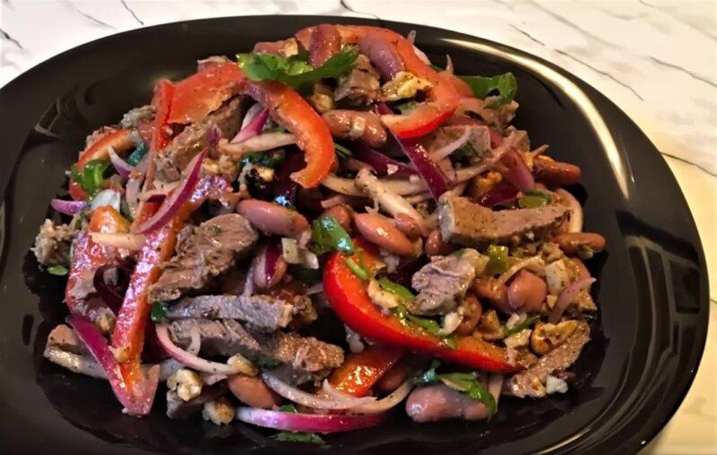 салат на новый год с фасолью и говядиной