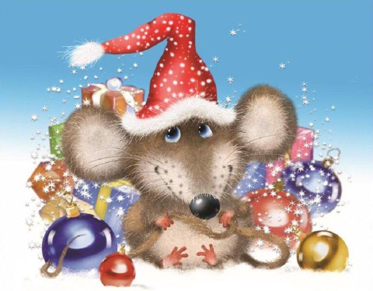 новогодняя открытка крыса