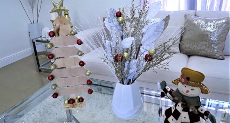 декор с елочкой и снеговиком