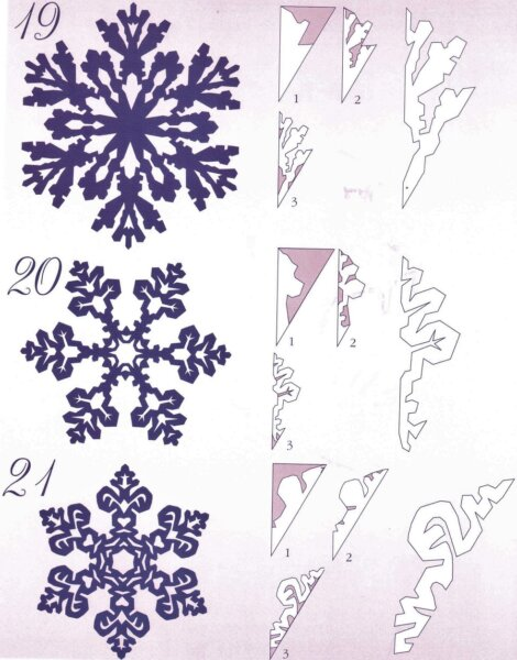 шаблоны снежинок с рисунками