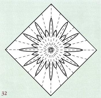 вырезанный цветок-шаблон из бумаги