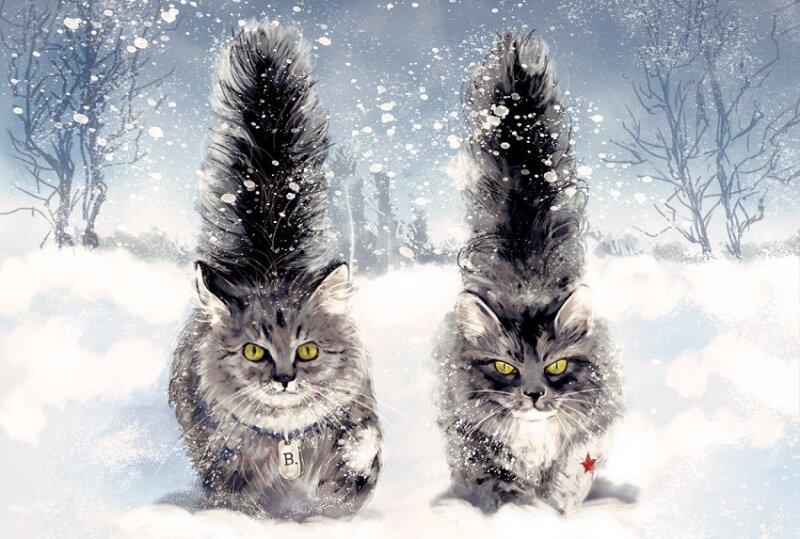 кошки с хвостами - новогодние картинки