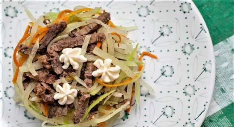 салат с бараниной и редькой