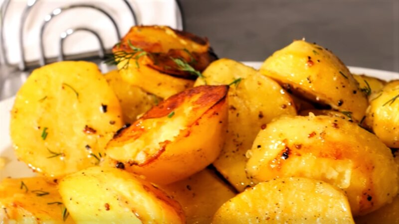 обжаренная картошка в духовке