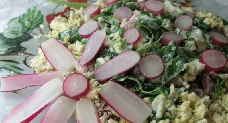 рыбный салат с редисом