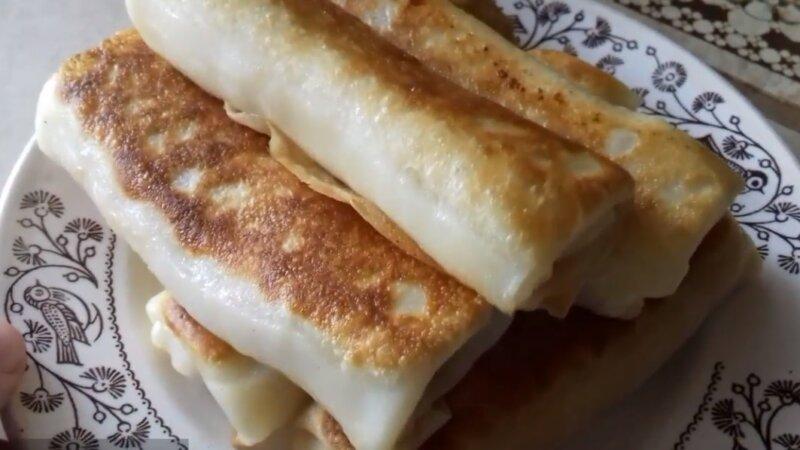 обжаренные фаршированные блины с ветчиной и сыром