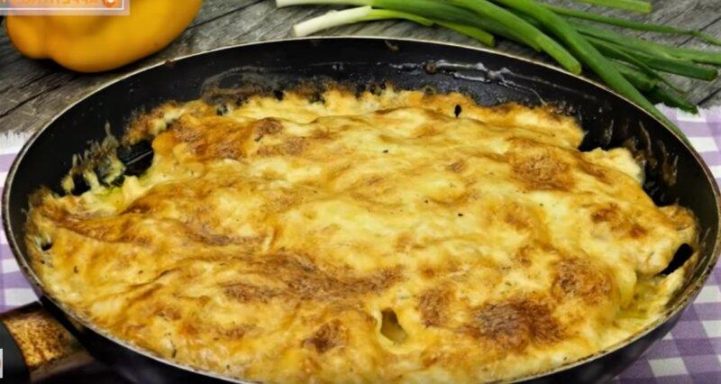сковорода с картошкой и курицей