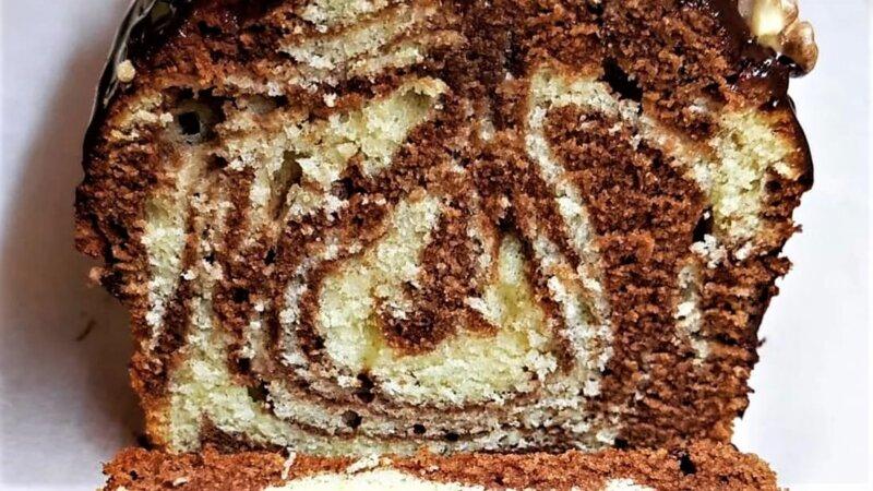 мраморный кекс в разрезе