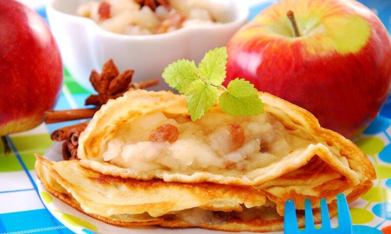 блины  с яблочной карамелью