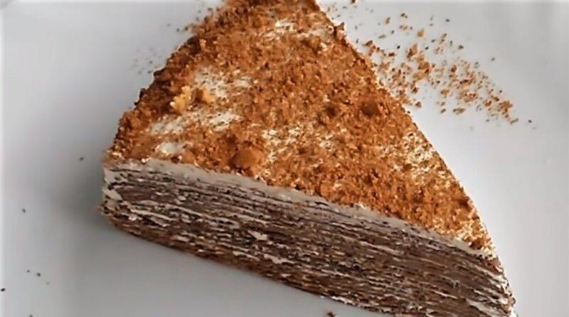 шоколадно-блинный торт - кусок