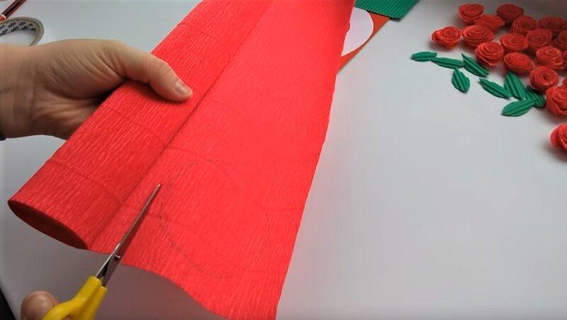 красная гофрированная бумага